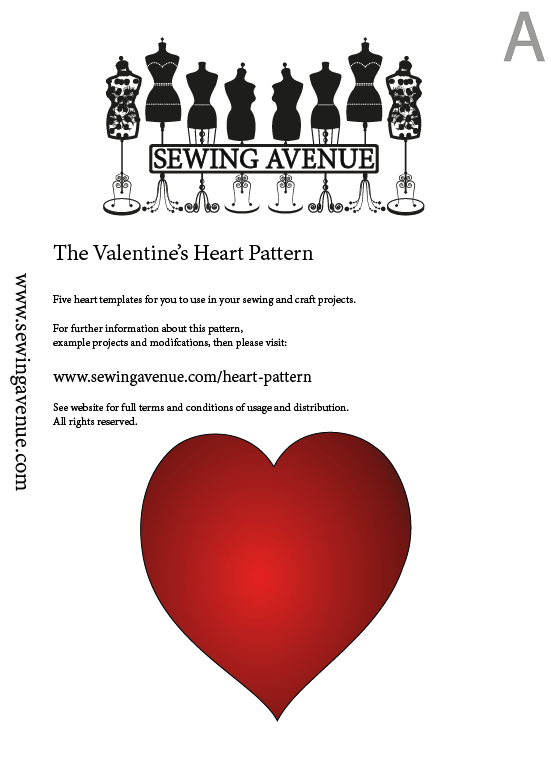 Valentine heart sewing pattern free sewing avenue for Heart template for sewing